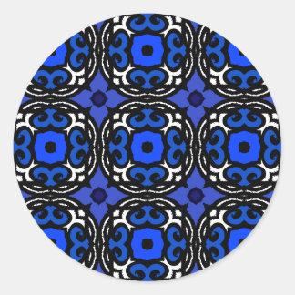 Motif ethnique avec des motifs turcs sticker rond