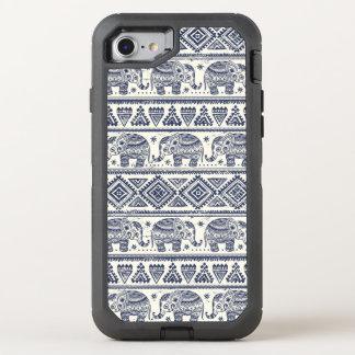 Motif ethnique bleu d'éléphant coque otterbox defender pour iPhone 7
