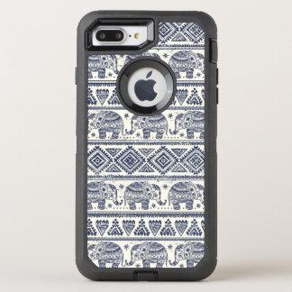 Motif ethnique bleu d'éléphant coque otterbox defender pour iPhone 7 plus