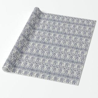 Motif ethnique bleu d'éléphant papiers cadeaux