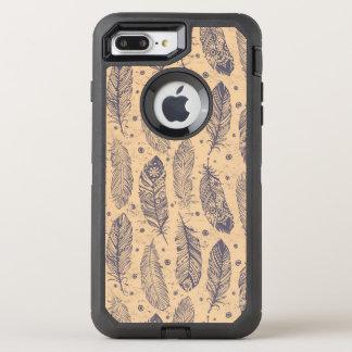 Motif ethnique d'ensemble de plume coque OtterBox defender iPhone 8 plus/7 plus