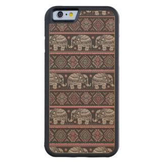 Motif ethnique noir d'éléphant coque iPhone 6 bumper en érable