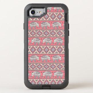 Motif ethnique rose d'éléphant coque otterbox defender pour iPhone 7