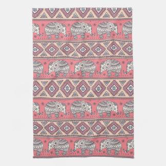 Motif ethnique rose d'éléphant linges de cuisine