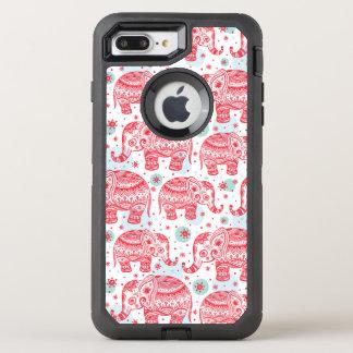 Motif ethnique rouge d'éléphant coque otterbox defender pour iPhone 7 plus