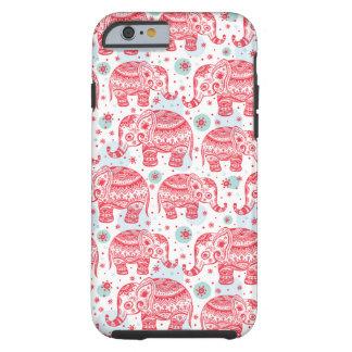 Motif ethnique rouge d'éléphant coque tough iPhone 6