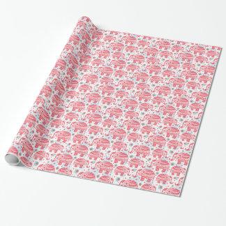 Motif ethnique rouge d'éléphant papier cadeau noël