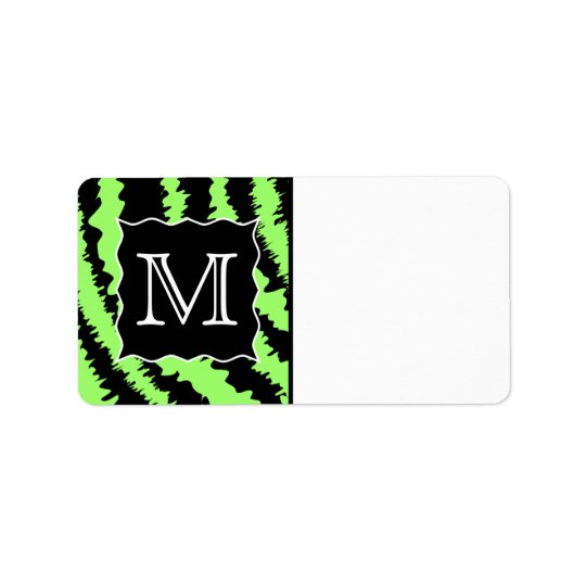 Motif fait sur commande de zèbre de vert et de noi étiquette d'adresse