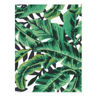 Motif fascinant tropical de feuille de banane carte postale