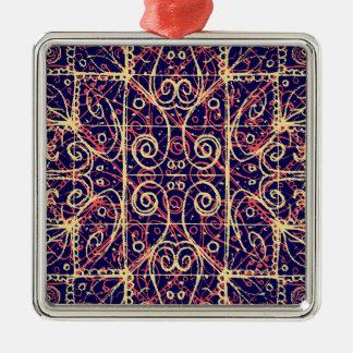 Motif fleuri tribal ornement carré argenté