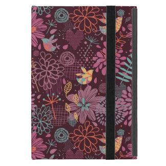 Motif floral abstrait avec des oiseaux coque iPad mini