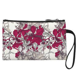 Motif floral artistique dessiné par rose foncé sac à main avec anse
