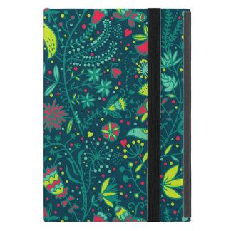 Motif floral avec des oiseaux de bande dessinée étui iPad mini