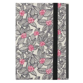 Motif floral avec des oiseaux de bande dessinée protection iPad mini