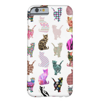 Motif floral aztèque de rayures de chats coque iPhone 6 barely there