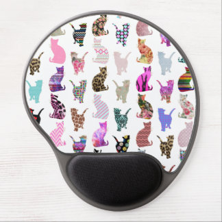 Motif floral aztèque de rayures de chats lunatique tapis de souris en gel