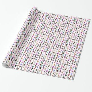 Motif floral aztèque de rayures de chats papier cadeau