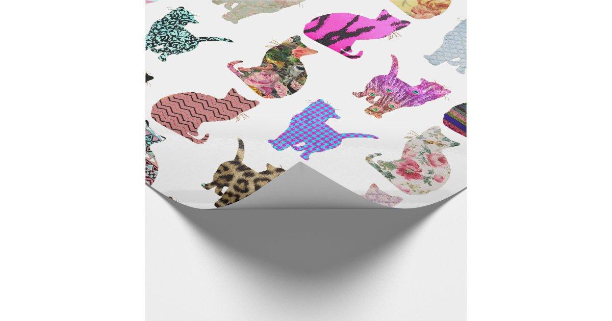 motif floral azt que de rayures de chats papier cadeau no l zazzle. Black Bedroom Furniture Sets. Home Design Ideas