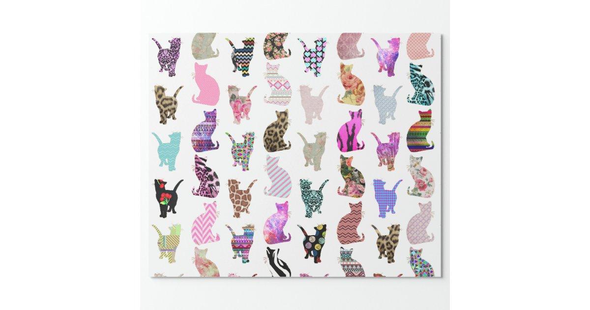 Motif floral azt que de rayures de chats papier cadeau no l zazzle - Papier cadeau personnalisable ...