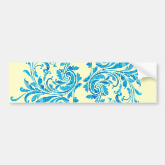 Motif floral bleu de damassé autocollant pour voiture