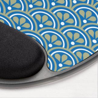 Motif floral bleu et kaki d'art déco tapis de souris avec gel