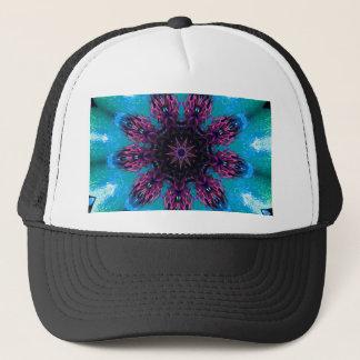 Motif floral bleu pourpre turquoise de casquette