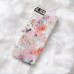 Motif floral chic d'aquarelle turquoise rose coque iPhone 6 barely there