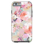 Motif floral chic d'aquarelle turquoise rose coque tough iPhone 6