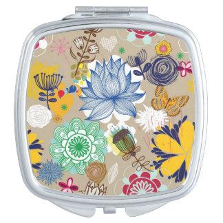 Motif floral dans le rétro style 3 miroir compact