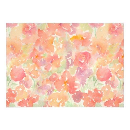 Motif floral d'aquarelle abstraite invitations