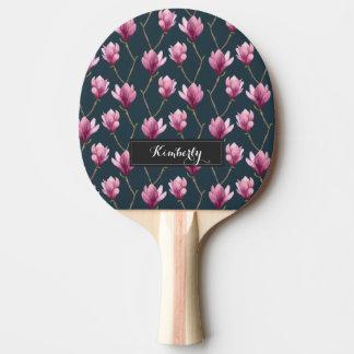 Motif floral d'aquarelle de magnolia raquette tennis de table