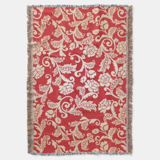 Motif floral d'arrière - plan de damassé couverture