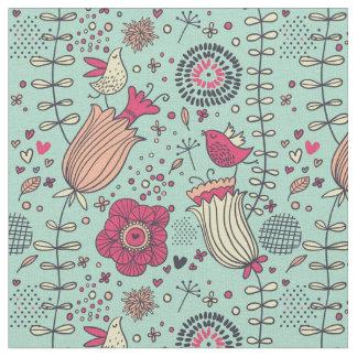 Motif floral de bande dessinée avec des oiseaux tissu