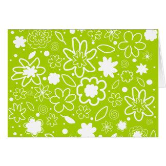 Motif floral de blanc et de vert de chaux carte de vœux
