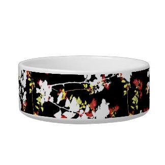 Motif floral de collage de Chinoiserie foncé Assiette Pour Chat