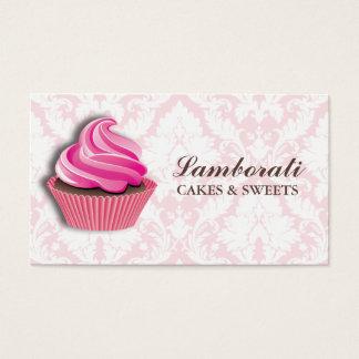 Motif floral de damassé élégante de boulangerie de cartes de visite