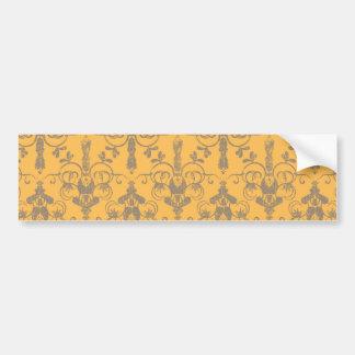 Motif floral de damassé grise orange vintage éléga autocollant pour voiture