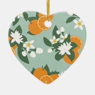Motif floral de fleur orange ornement cœur en céramique