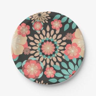 Motif floral de floraison dynamique sur l'arrière assiettes en papier