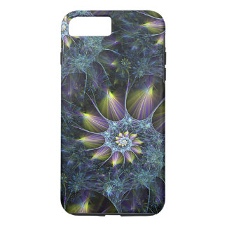 Motif floral de fractale de spirale pourpre bleue coque iPhone 7 plus