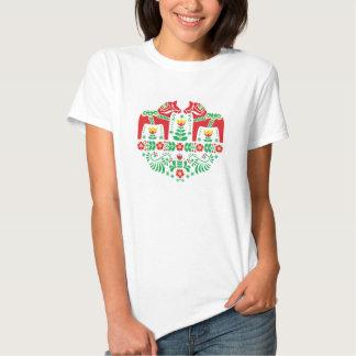 Motif floral de gens de cheval de Dala de Suédois T-shirts