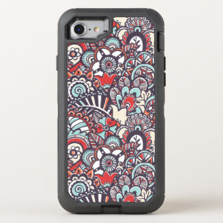 Motif floral de griffonnage de Paisley Coque OtterBox Defender iPhone 8/7