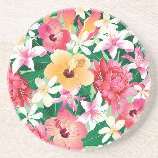 Motif floral de ketmie tropicale dessous de verre