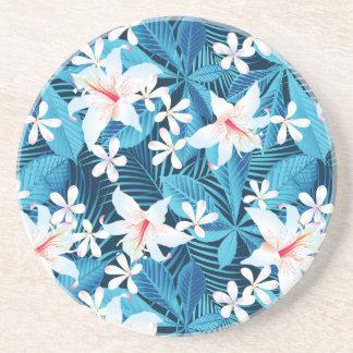 Motif floral de ketmie tropicale dessous de verres