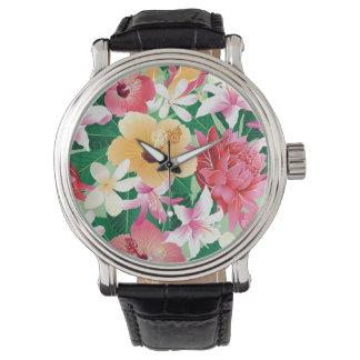 Motif floral de ketmie tropicale montres bracelet