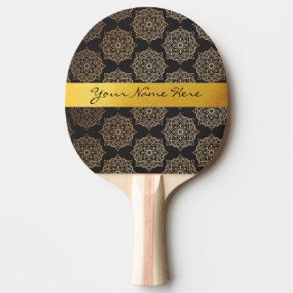Motif floral de mandala de noir élégant d'or raquette tennis de table