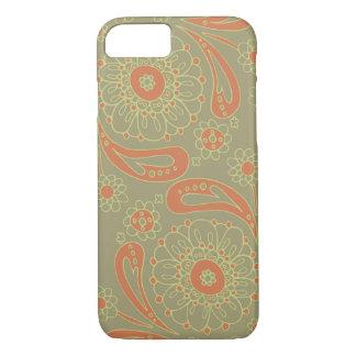 Motif floral de mandala vert et orange de Paisley Coque iPhone 7