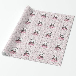 Motif floral de panda adorable mignon de coeur papiers cadeaux