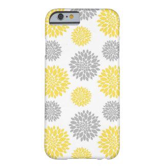 Motif floral de pivoine jaune et grise coque barely there iPhone 6