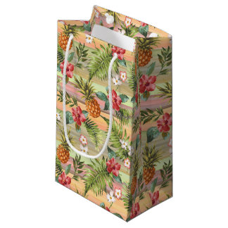 Motif floral de rayures de fruit tropical d'ananas petit sac cadeau